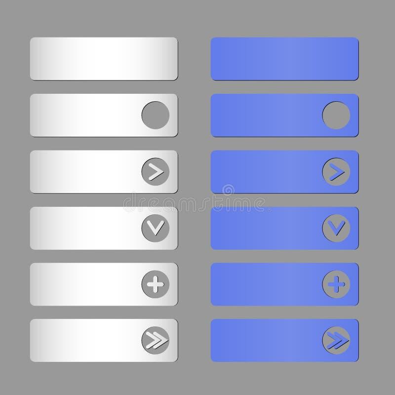 Комплект вектора бумажных голубых и белых кнопок иллюстрация вектора