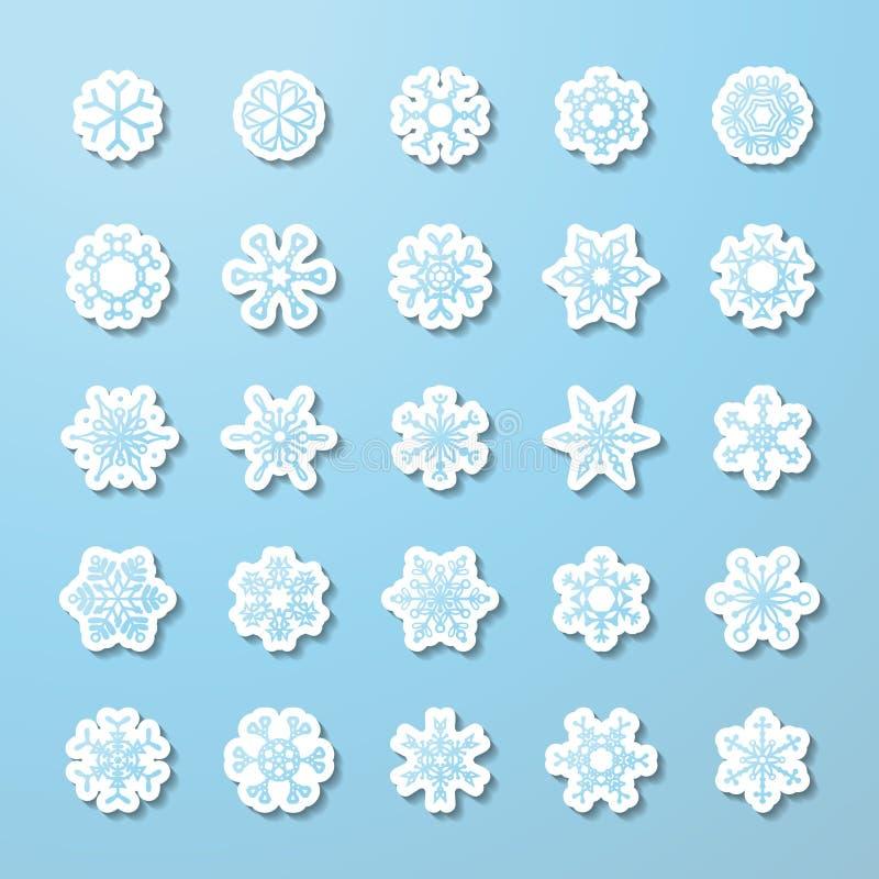 Комплект вектора бумажных стикеров снежинки бесплатная иллюстрация