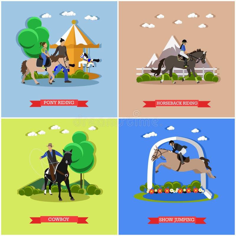 Комплект вектора верховой езды, выставки скача, укрощая концепций лошадей иллюстрация вектора