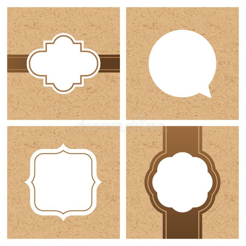 Комплект вектора винтажных рамок и знамен с текстурой бумаги ремесла иллюстрация штока