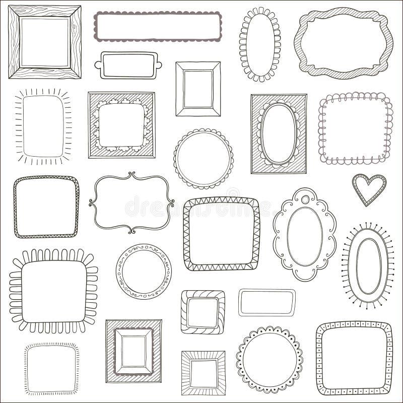 Комплект вектора винтажных рамок фото, нарисованного рукой стиля doodle, античных орнаментальных и милых рамок фото иллюстрация штока