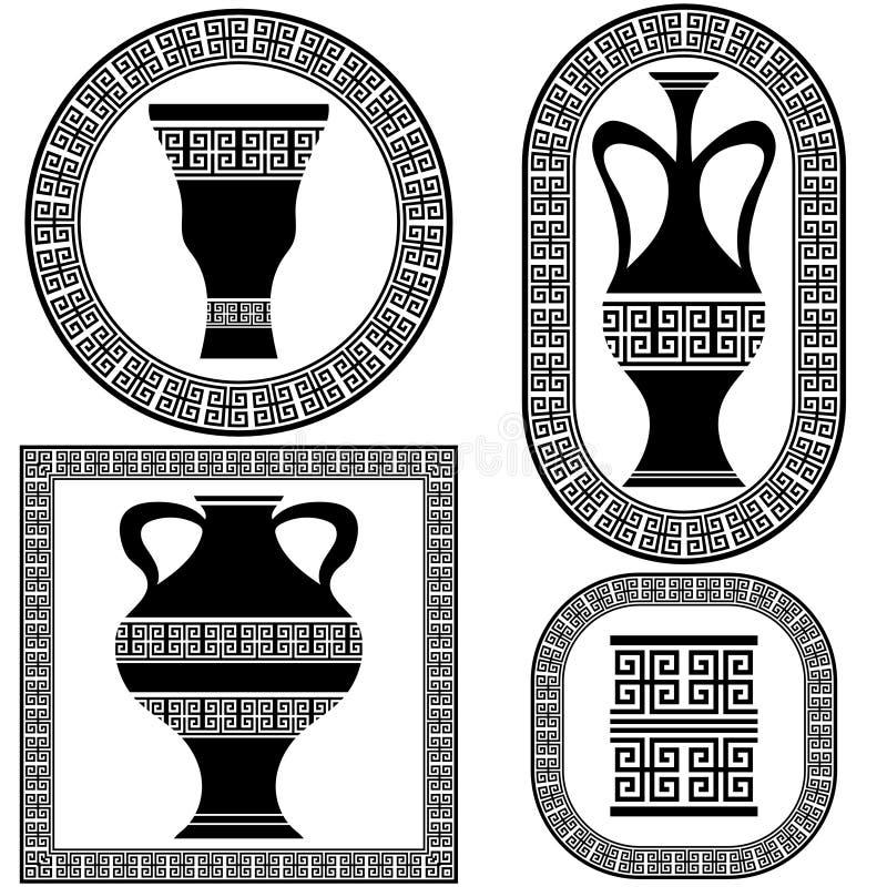 Комплект вектора греческих рамок иллюстрация штока