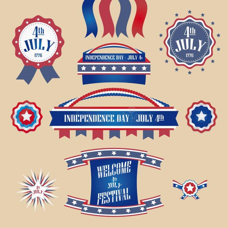 Комплект вектора Дня независимости бесплатная иллюстрация