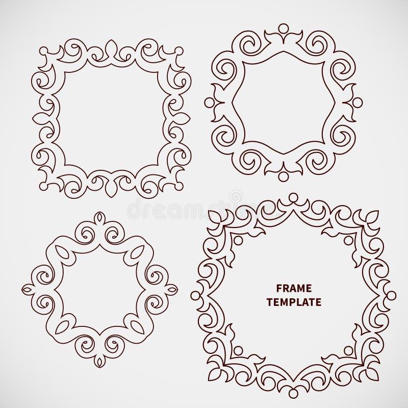 Комплект вектора декоративной линии рамки искусства для дизайна иллюстрация вектора