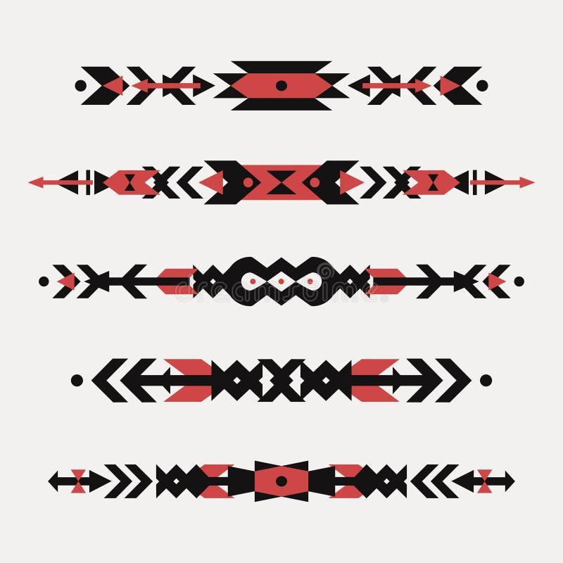 Комплект вектора декоративных этнических границ с американскими индийскими мотивами иллюстрация штока