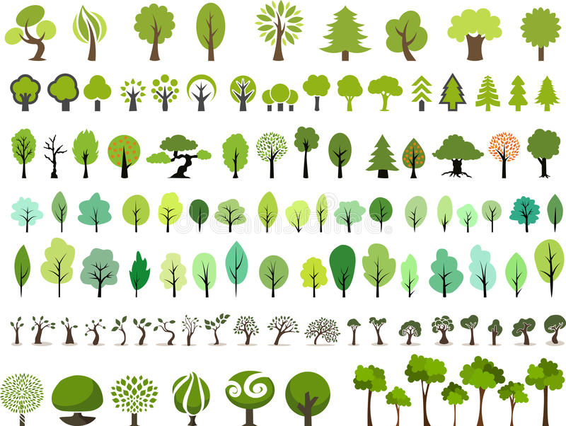 Комплект вектора деревьев с различным стилем иллюстрация штока