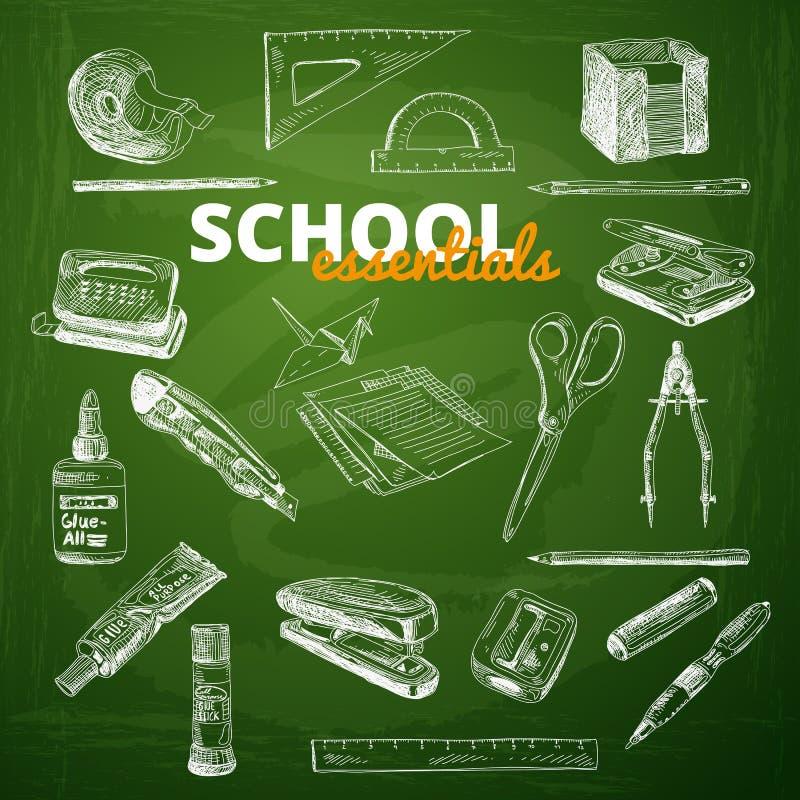 Комплект вектора деталей школы на доске иллюстрация штока