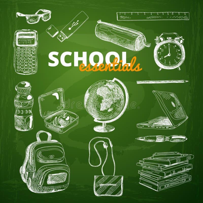 Комплект вектора деталей школы на доске бесплатная иллюстрация