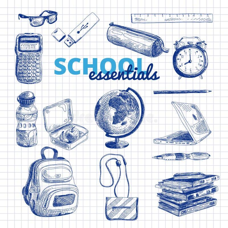 Комплект вектора деталей школы иллюстрация штока