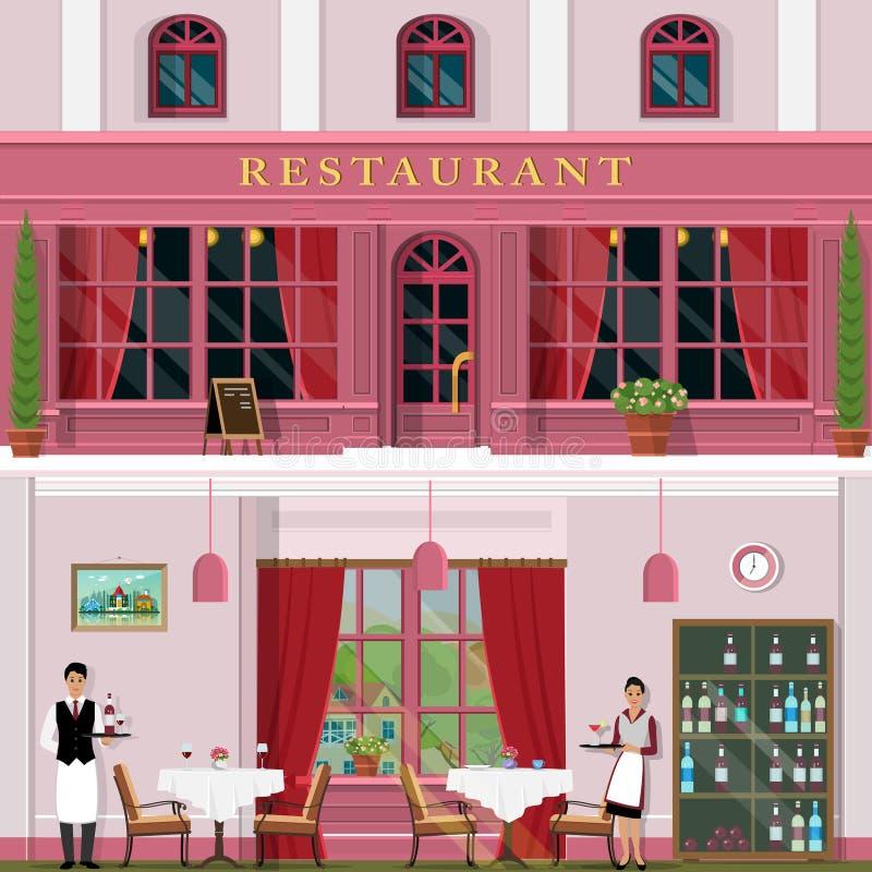 Комплект вектора детализировал плоские фасад и интерьер ресторана дизайна Дизайн интерьера для ресторана с таблицами, стульями иллюстрация вектора