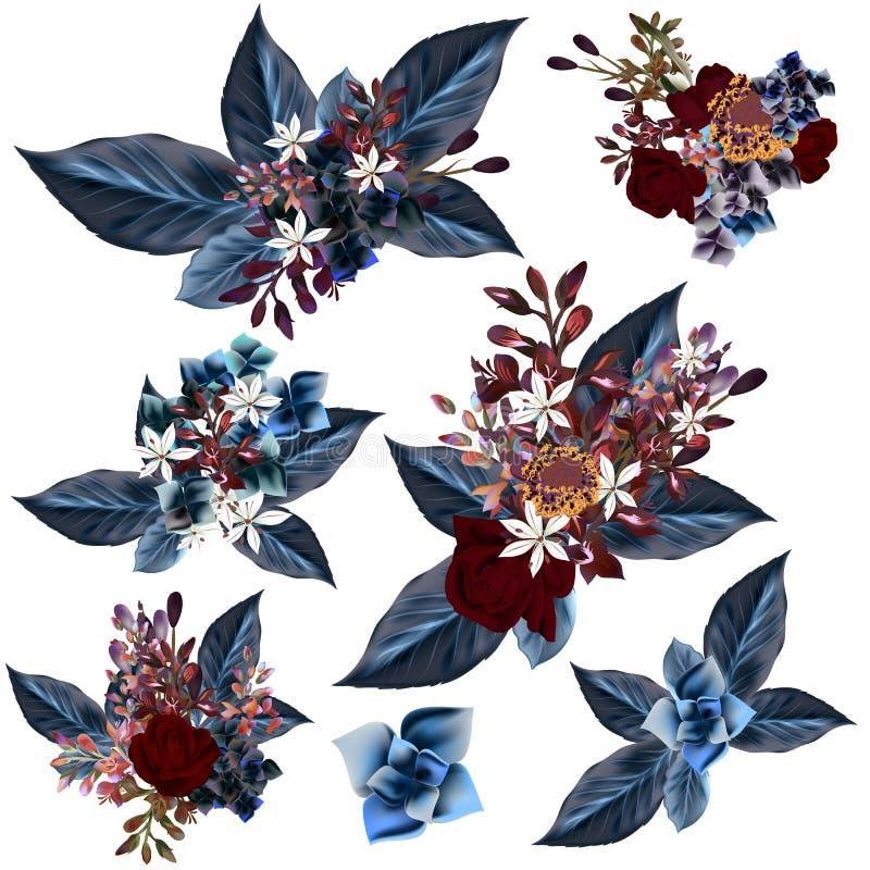 Download Комплект вектора детализировал цветки с голубыми листьями Иллюстрация вектора - иллюстрации насчитывающей влюбленность, backhoe: 81802985