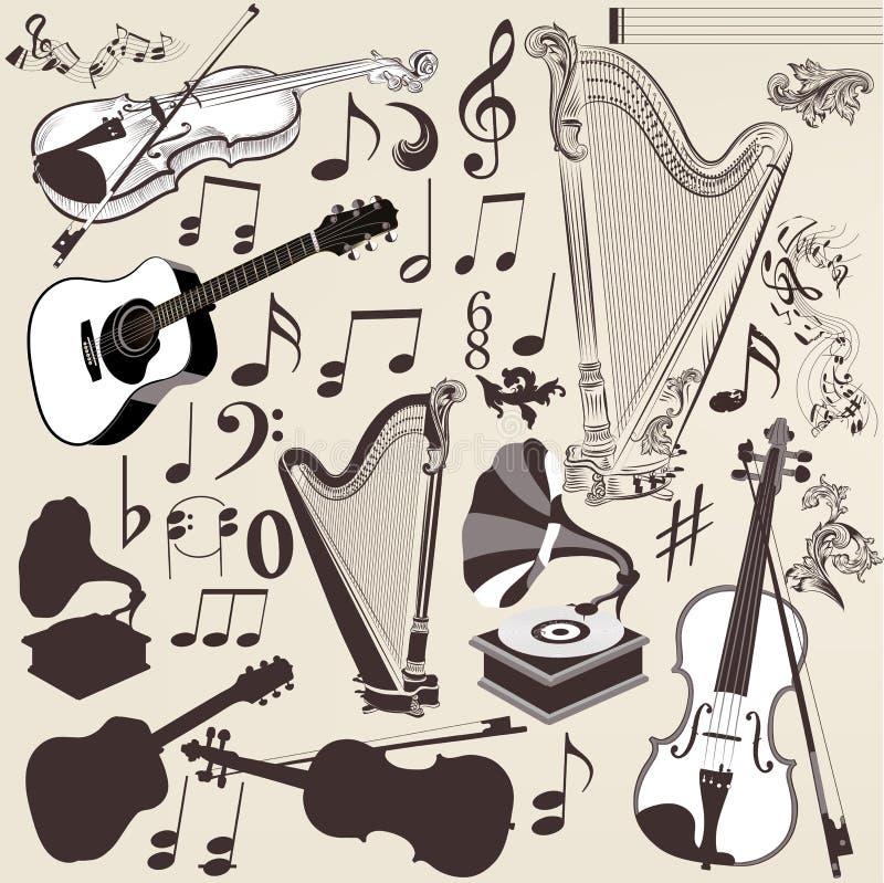 Комплект вектора детальных музыкальных инструментов для дизайна бесплатная иллюстрация