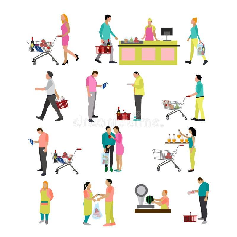 Комплект вектора еды людей покупая в гастрономе Значки, элементы дизайна на белой предпосылке Супермаркет с иллюстрация штока