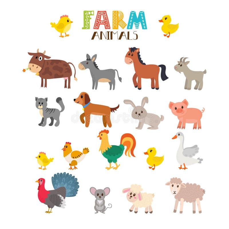 Комплект вектора животноводческих ферм шарж животных милый иллюстрация штока