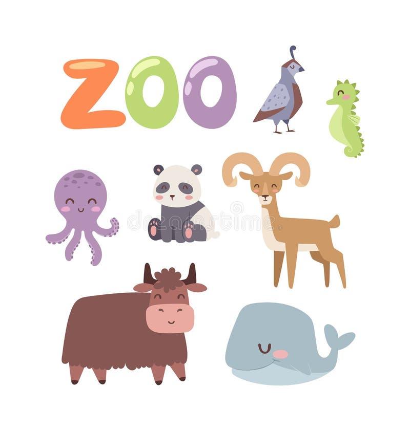 Комплект вектора животных зоопарка иллюстрация вектора