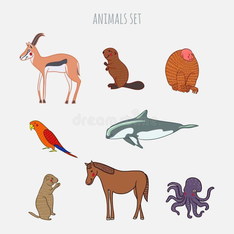 Комплект вектора животных шаржа милый Нарисованный вручную стиль Антилопа, бобр, обезьяна, попугай, vaquita, gophe иллюстрация штока
