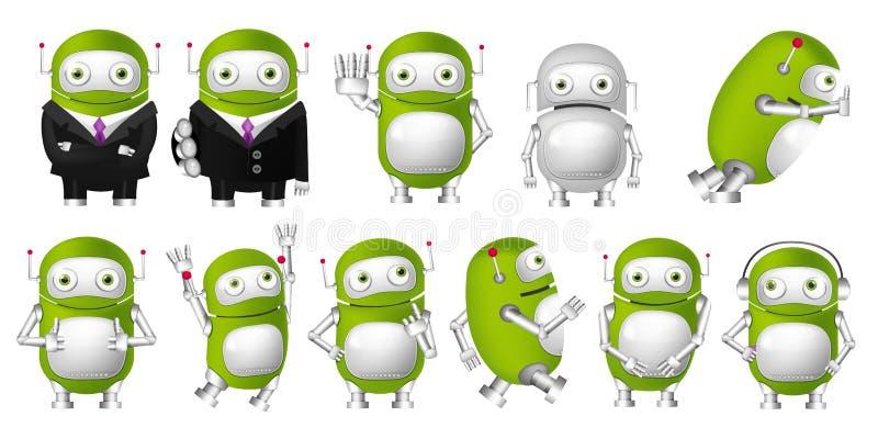 Комплект вектора зеленых иллюстраций роботов иллюстрация вектора