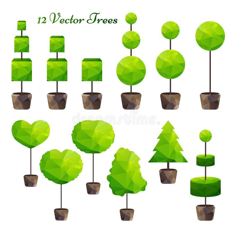 Комплект вектора 12 зеленых полигональных деревьев иллюстрация штока