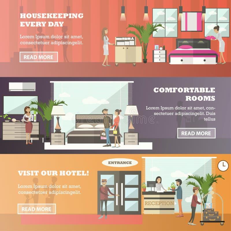 Комплект вектора знамен гостиницы горизонтальных в плоском стиле бесплатная иллюстрация
