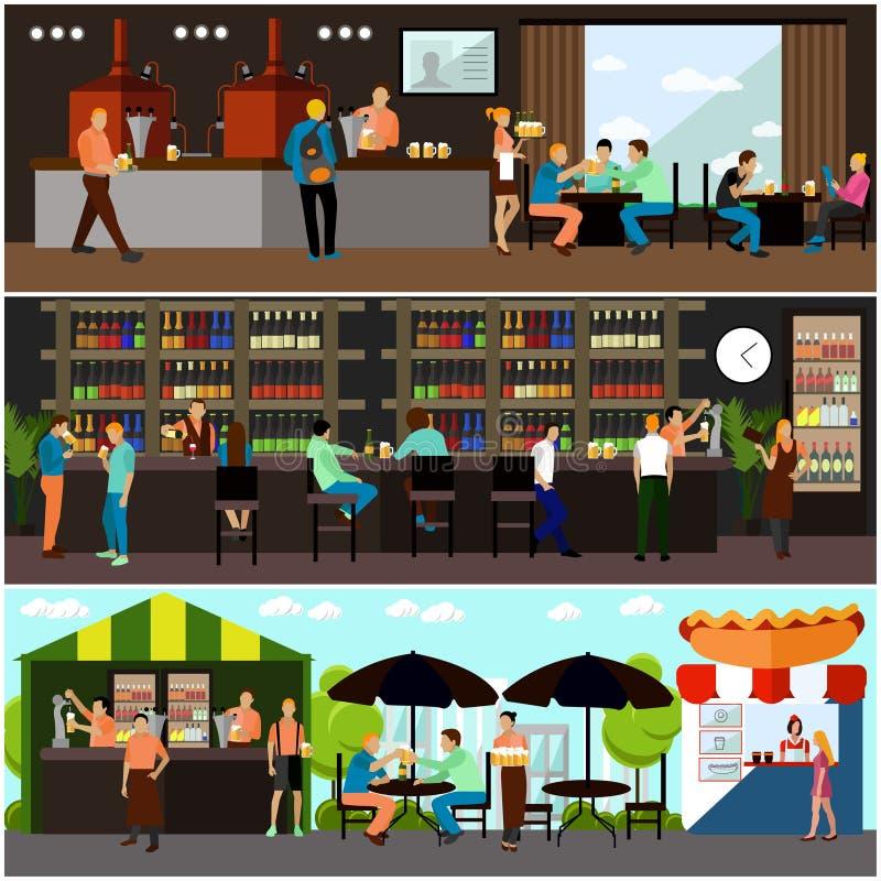 Комплект вектора знамен концепции винзавода и ресторана пива внутренних иллюстрация штока