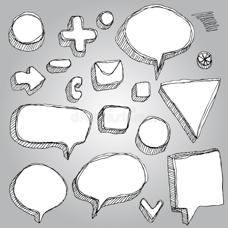Комплект вектора знамен, стрелок, ручки контура эскиза символов черно-белой иллюстрация вектора