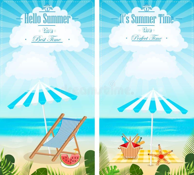 Комплект вектора знамен seascapes летних каникулов вертикального иллюстрация вектора