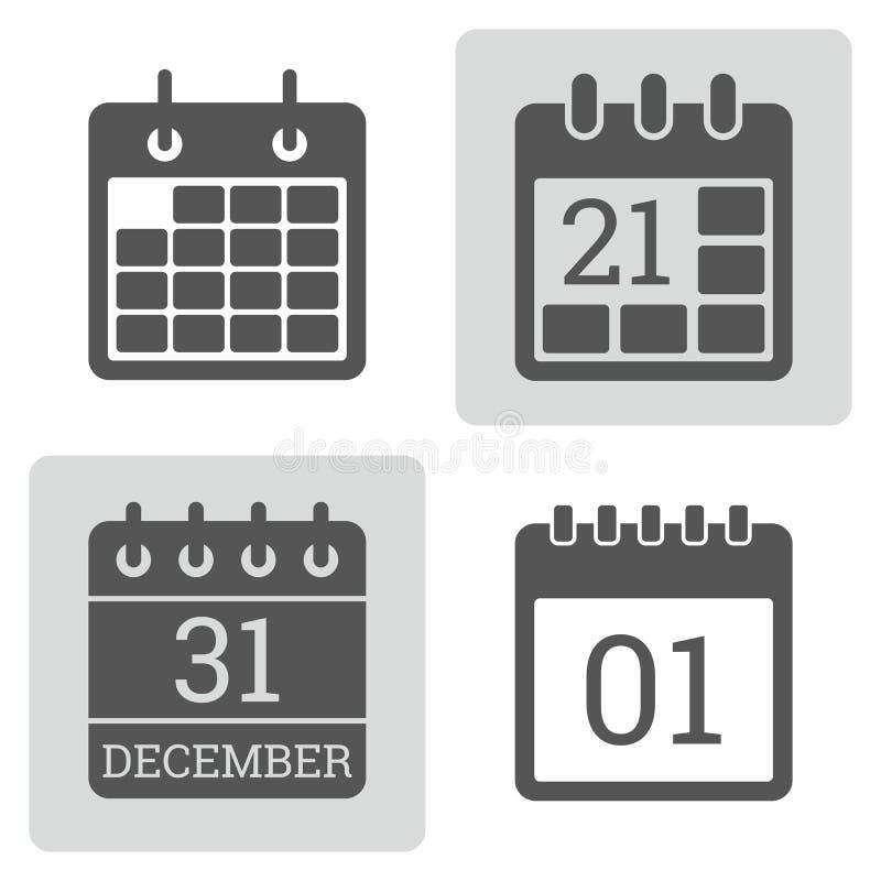 Комплект вектора значка календаря иллюстрация вектора