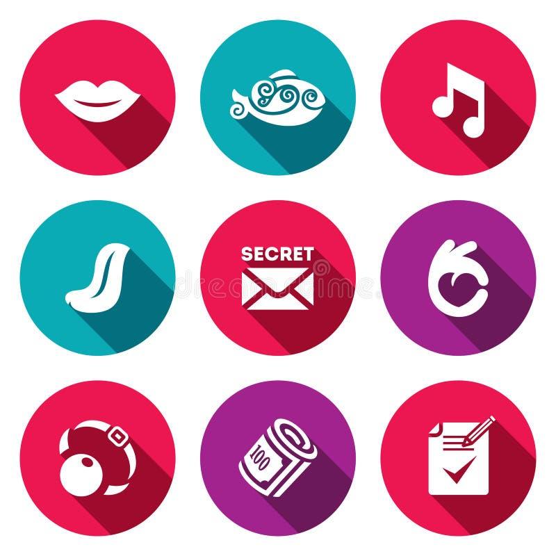 Комплект вектора значков безмолвия Muteness, рыба, звук, язык, секрет, жест, кляп, взятка, документ иллюстрация вектора