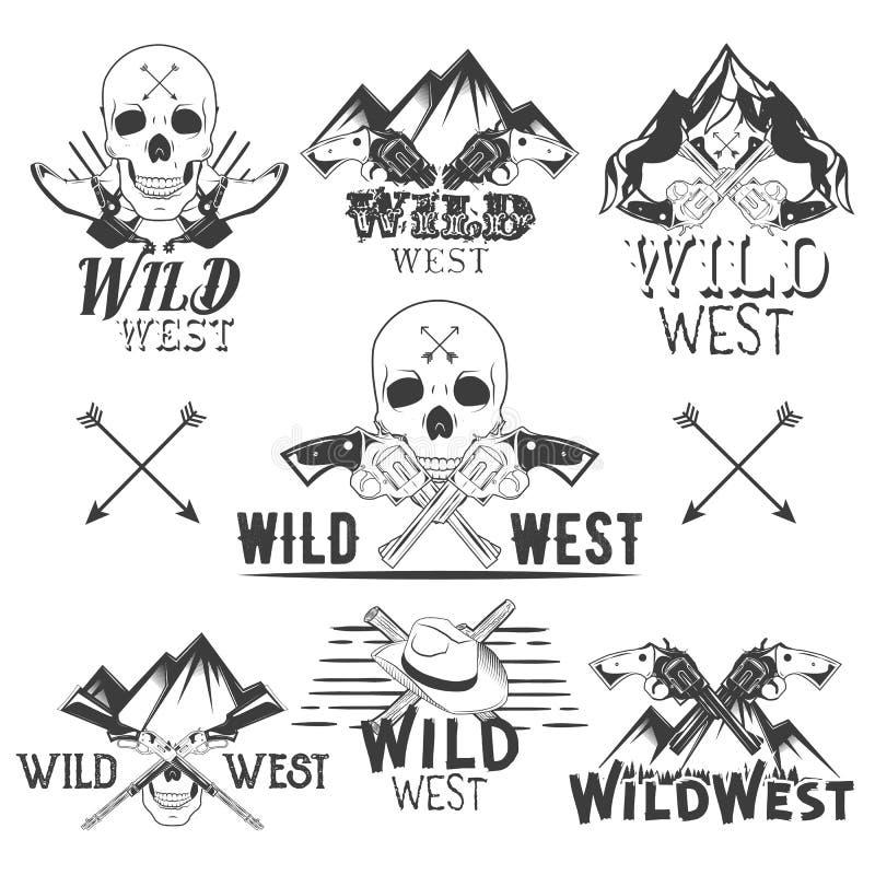 Комплект вектора значков Диких Западов Изолированные эмблемы, ярлыки, логотипы с черепами, револьверы, горы и ботинки ковбоя внут иллюстрация вектора