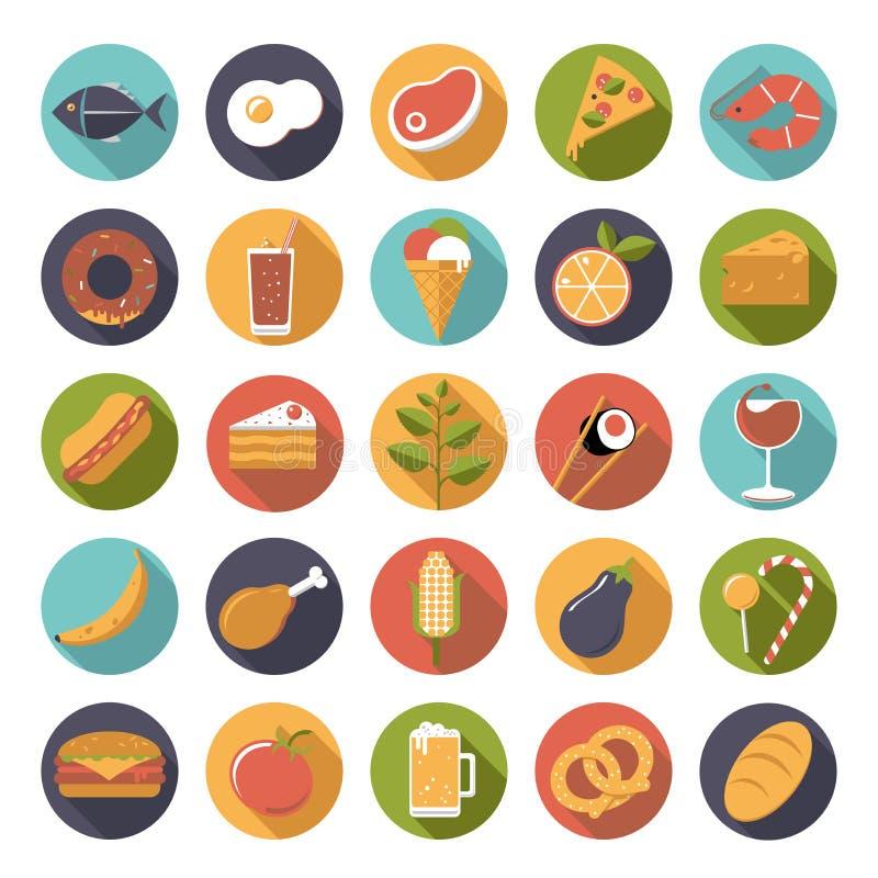 Комплект вектора значков еды иллюстрация штока