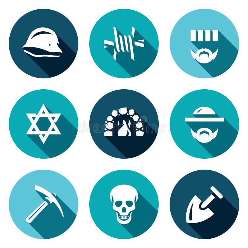 Комплект вектора значков концентрационного лагеря Немецкий шлем, колючая проволока, пленник, иудаизм, крематорий, еврей, сервитут бесплатная иллюстрация