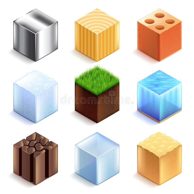 Комплект вектора значков материалов и кубов текстур иллюстрация штока