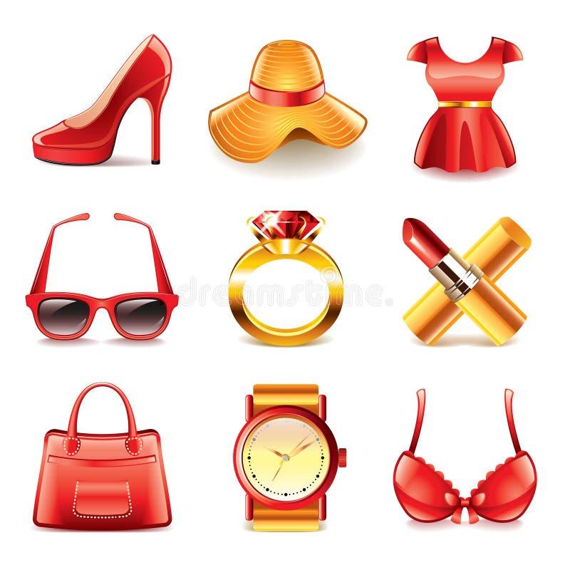 Download Комплект вектора значков моды и покупок Иллюстрация вектора - иллюстрации насчитывающей шлем, lingerie: 40576336