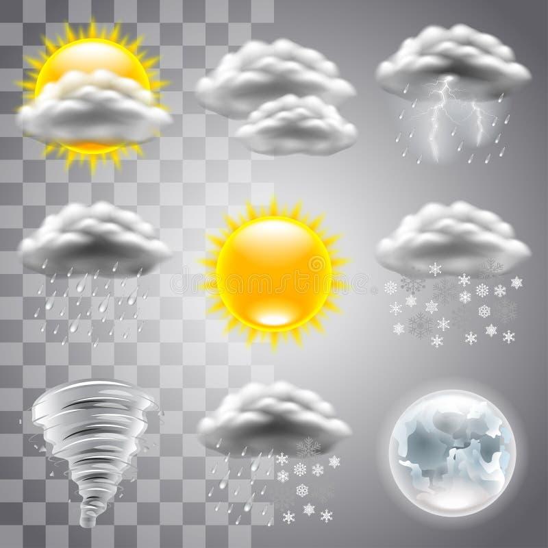 Комплект вектора значков погоды иллюстрация штока