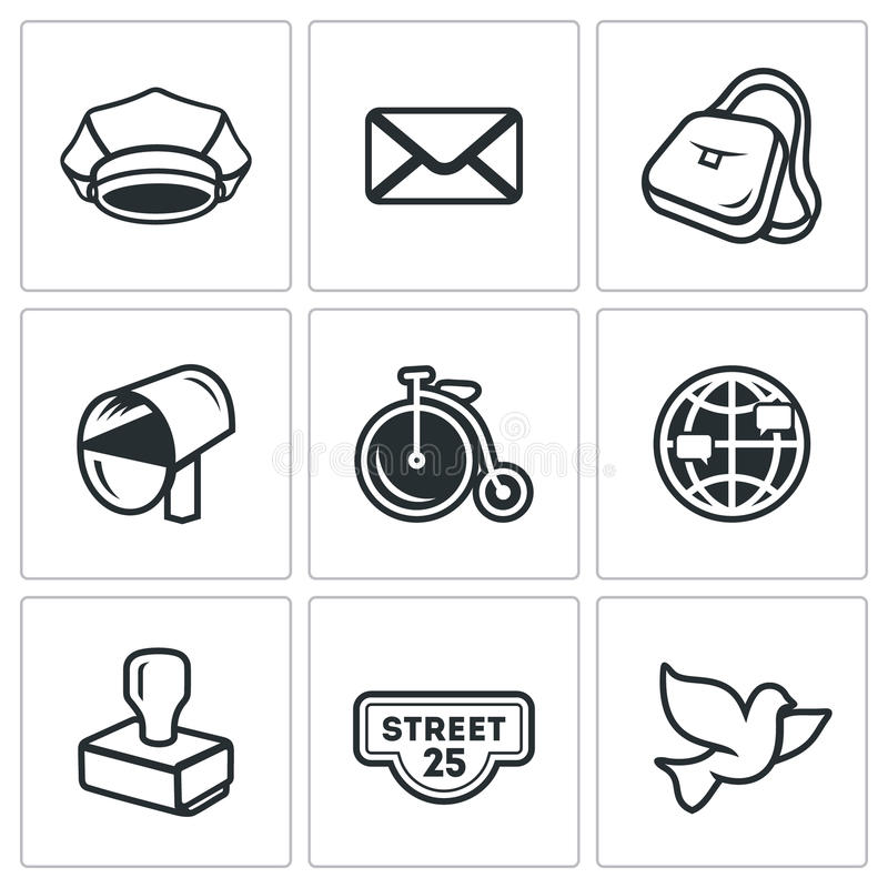 Комплект вектора значков почтового отделения Почтальон, письмо, поставка, переход, International, посылая, адрес, почтовый голубь бесплатная иллюстрация