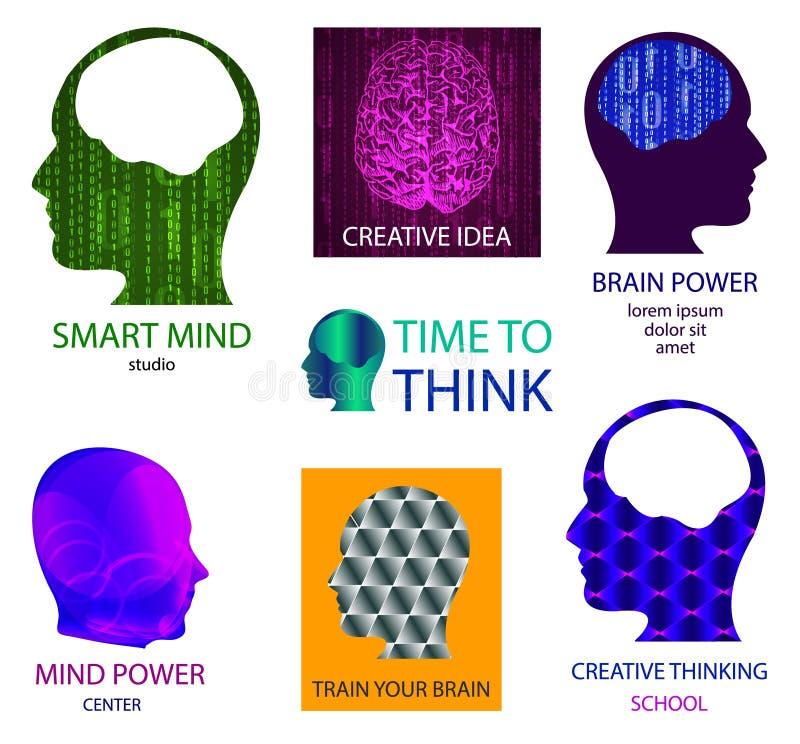Комплект ВЕКТОРА значков: умная студия разума, центр власти разума, время думать, творческая идея, научный коллектив, тренирует в иллюстрация штока