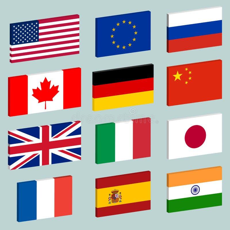 Комплект вектора значков флага иллюстрация вектора