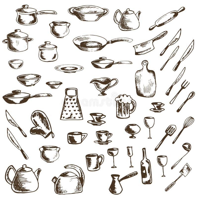 Комплект вектора значков эскиза блюд и утварей кухни иллюстрация штока