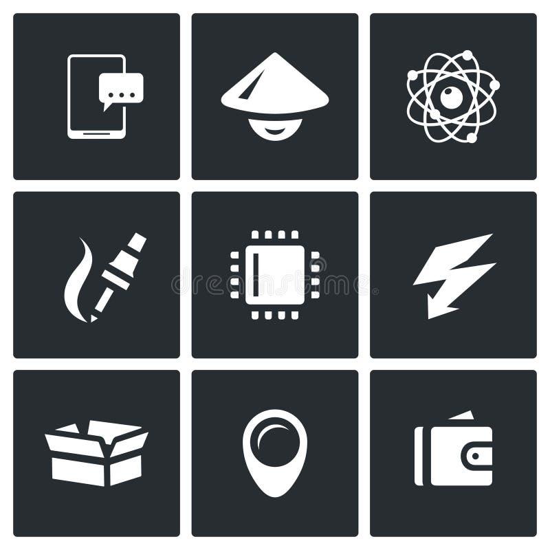 Комплект вектора значков электронной промышленности Smartphone, азиат, Nucleu и электрон, изготовление, процессор, обязанность, п иллюстрация штока