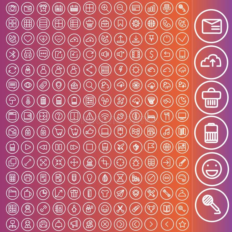 Комплект вектора значков для сети и пользовательского интерфейса иллюстрация штока