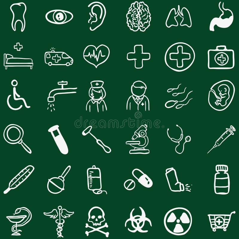 Комплект вектора значков Doodle мела медицинских иллюстрация вектора