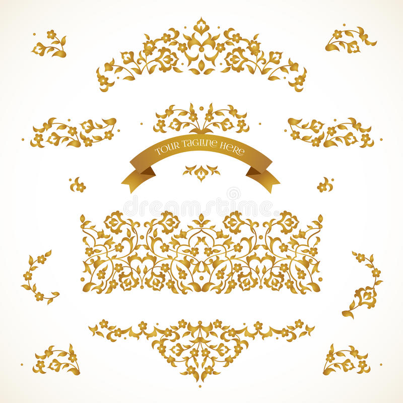 Комплект вектора золотых виньеток в восточном стиле иллюстрация штока