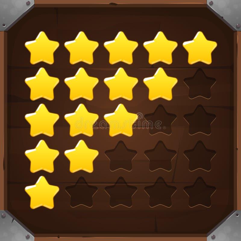 Комплект вектора золотых звезд оценки иллюстрация вектора