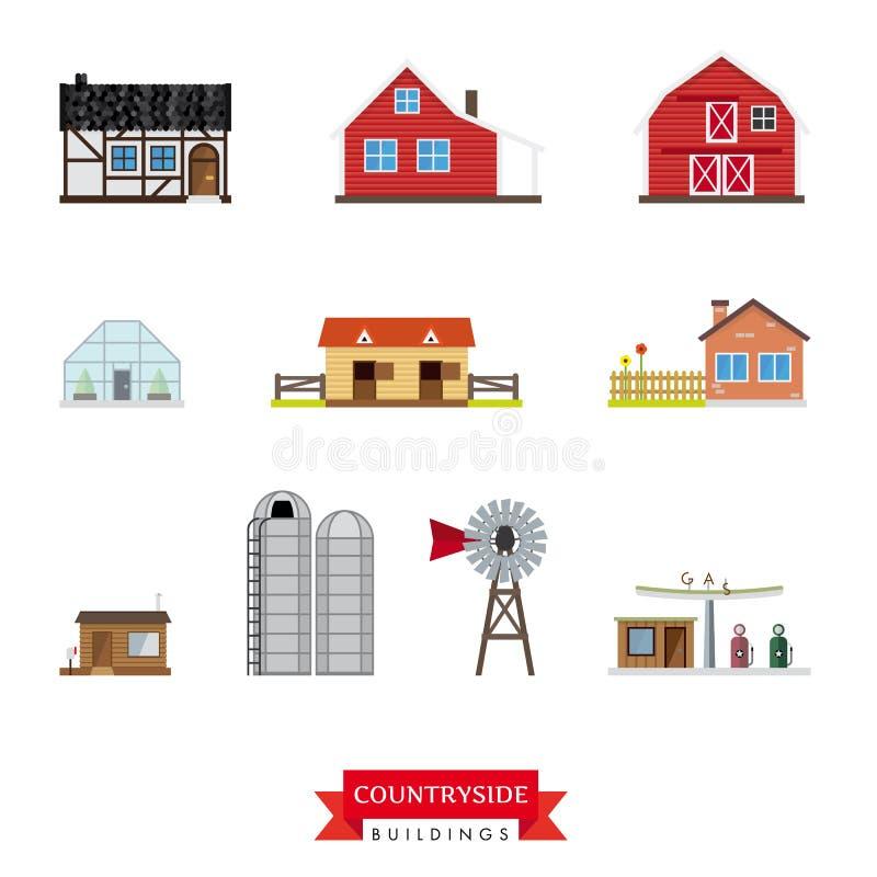 Комплект вектора зданий сельской местности иллюстрация штока