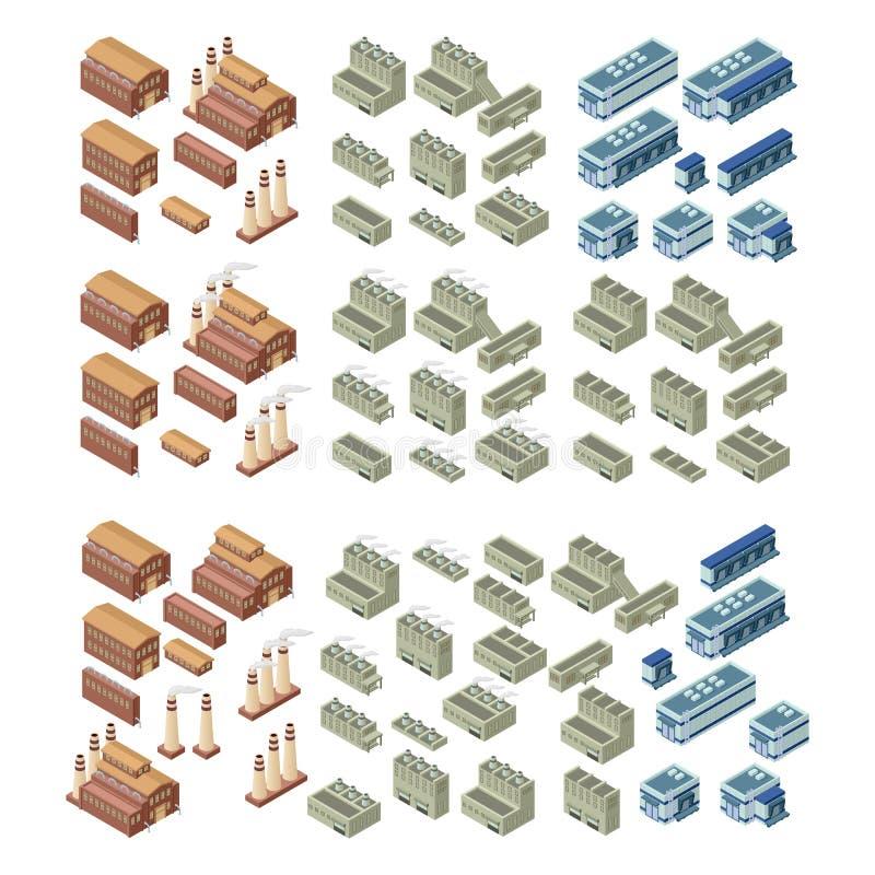 комплект вектора зданий 3d иллюстрация вектора
