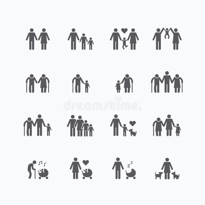Комплект вектора дизайна значков силуэта семьи плоский иллюстрация штока