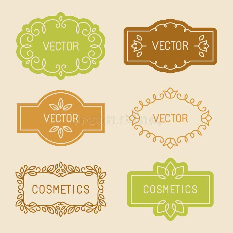 Комплект вектора линейных элементов дизайна бесплатная иллюстрация