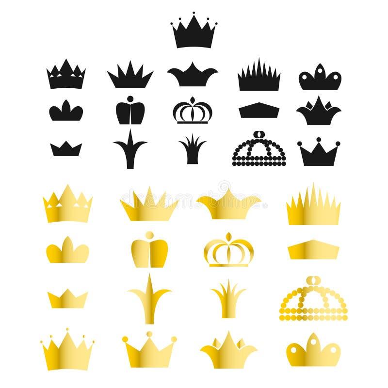 Комплект вектора искусства зажима кроны золота иллюстрация вектора