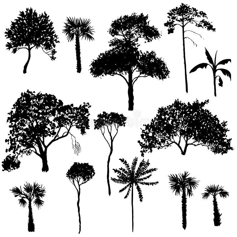 Комплект вектора лиственных деревьев иллюстрация вектора