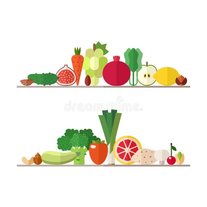 Комплект вектора иллюстраций овощей, плодоовощей и гаек Современный плоский дизайн Часть первая бесплатная иллюстрация